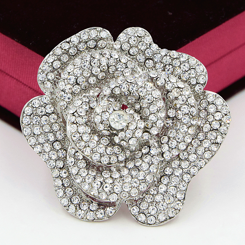2.4 Inch Large Vintage Silver Tone Diamante Crystals Rose Brooch Luxury Design Wedding Broaches Hot Selling Elegant Wedding Pin