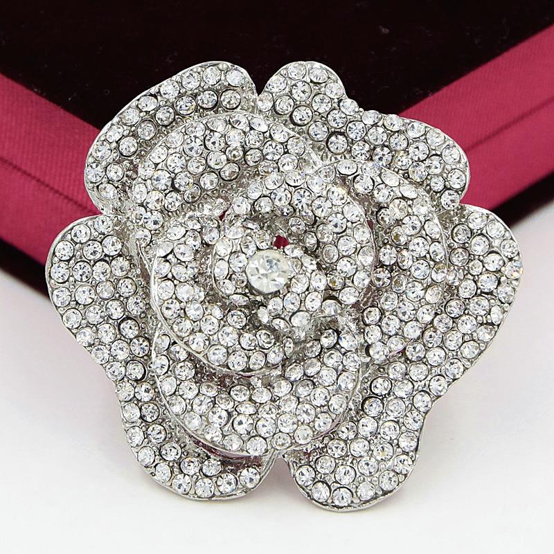 2.4 Pouce Grand Vintage Ton Argent Diamante Cristaux Rose Broche De Luxe Conception De Mariage Broches Vente Chaude Élégante De Mariage Broches