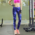 S-QVSIA Plus Size S-2XL fitness Woman Leggings Blue and purple star leggings Mid Waist Slim Europe Fold Stretch Legging Women