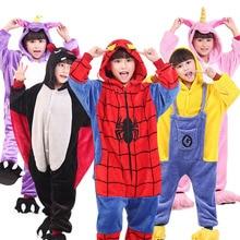 Kids pyjama Baby Boys Girls Unicorn Panda Pig Children pajamas set Flannel Stitch Animal Pajamas Onesies for 3 5 7 9 11 12 years недорого