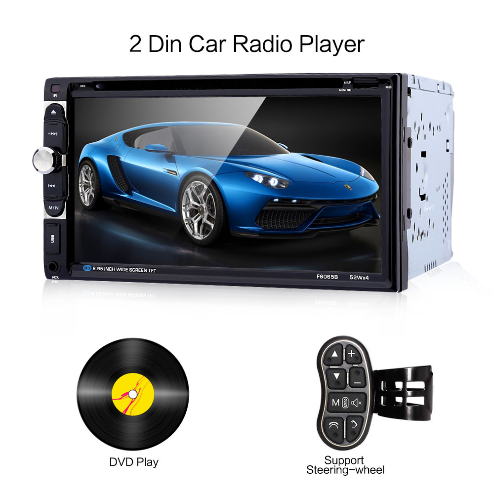 2 Din Car Radio Player Stereo Car DVD Player MP3 CD Audio Bluetooth USB FM 6.95 Inch Touch Screen Auto Radio Autoradio latest car radio bluetooth stereo player audio dvd mp3 player fm usb radio 1 din remote control 12v auto radios