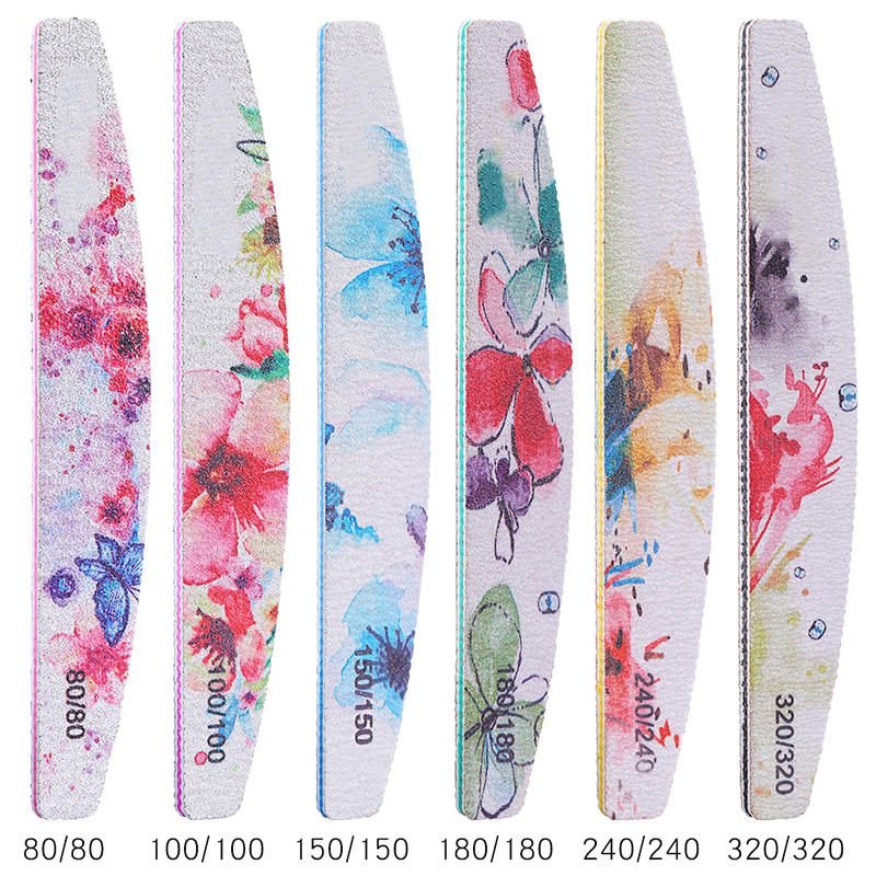 6PCS/SET Professional Nail File Kit Flower Nail Buffer Polish Block Sanding Nail Art Pedicure Tools Salon Sander Accessory