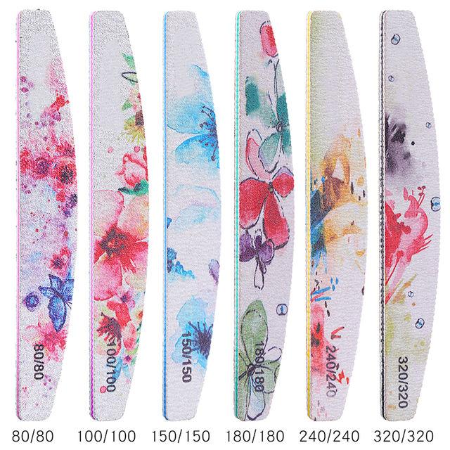6PCS/SET Professional Nail File Kit Flower Nail Buffer Polish Block Sanding Nail Art Pedicure Tools Salon Sander Accessory