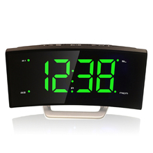 NEW! Arc digital LED Alarm Clock Desk electronic radio clock Personality bedside Night Light Snooze Clock led glowing clock