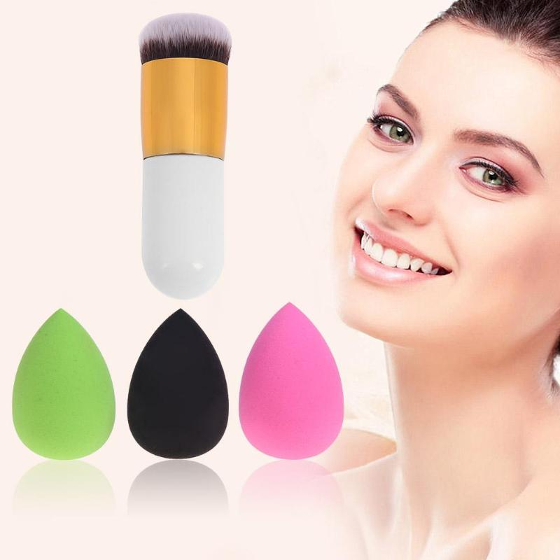 3pcs Smooth Flawless Sponge Cosmetic Puff with Makeup Brush Tools Makeup Puff Foundation Base Powder Liquid Cosmetic Sponges bob cosmetic makeup powder w puff mirror dark brown 04