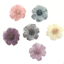 30pcs/lot 6DIY Peach Fabric Flowers with chiffon and  pistil in Centre For Baby Hair Accessory Free shipping