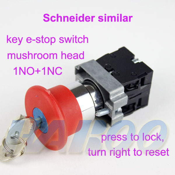 1pcs shipping free HABOO factory directly electrical push button switch 22mm 1NO+1NC mushroom head emergency stop switch CE