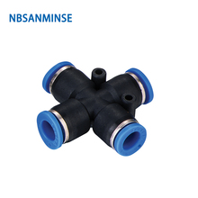 Free Shipping PZ 10Pcs/Lot Equal 4 Way Tube Cross Union Manifold Connector Pneumatic Pipe Fitting Push In Coupler Sanmin
