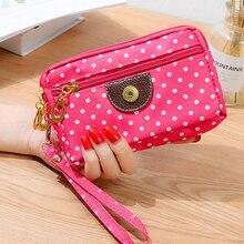 Hand bag purse handbag lady multi-function three zipper multi-layer wallet hand phone reel canvas