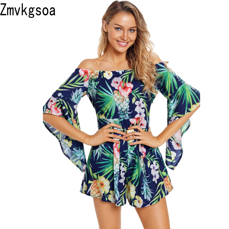 Zmvkgsoa Summer Sexy Playsuits Women Boho Jumpsuits 2018 Navy Tropical Print Off Shoulder Vacation Romper Beach Shorts V643960