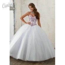081648224 Vestido de fiesta de cristal blanco Quinceañera vestido de baile sin mangas  de encaje vestido Formal vestidos de 15 anos Sweethe.