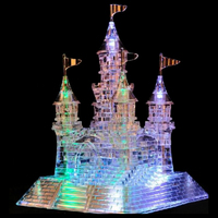 Surwish 3D Crystal Castle Puzzle Jigsaw Creative Gift with Music Colorful Lights for Children Transparent