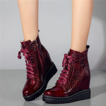 purple hairy lace up square toe women ankle high boots leopard print platform stivali femminili star casual wedges boots femmes Goth Creepers Women Lace Up Cow Leather Wedges Platform High Heel Ankle Boots Casual Shoes Round Toe Pumps Punk Oxfords Shoes