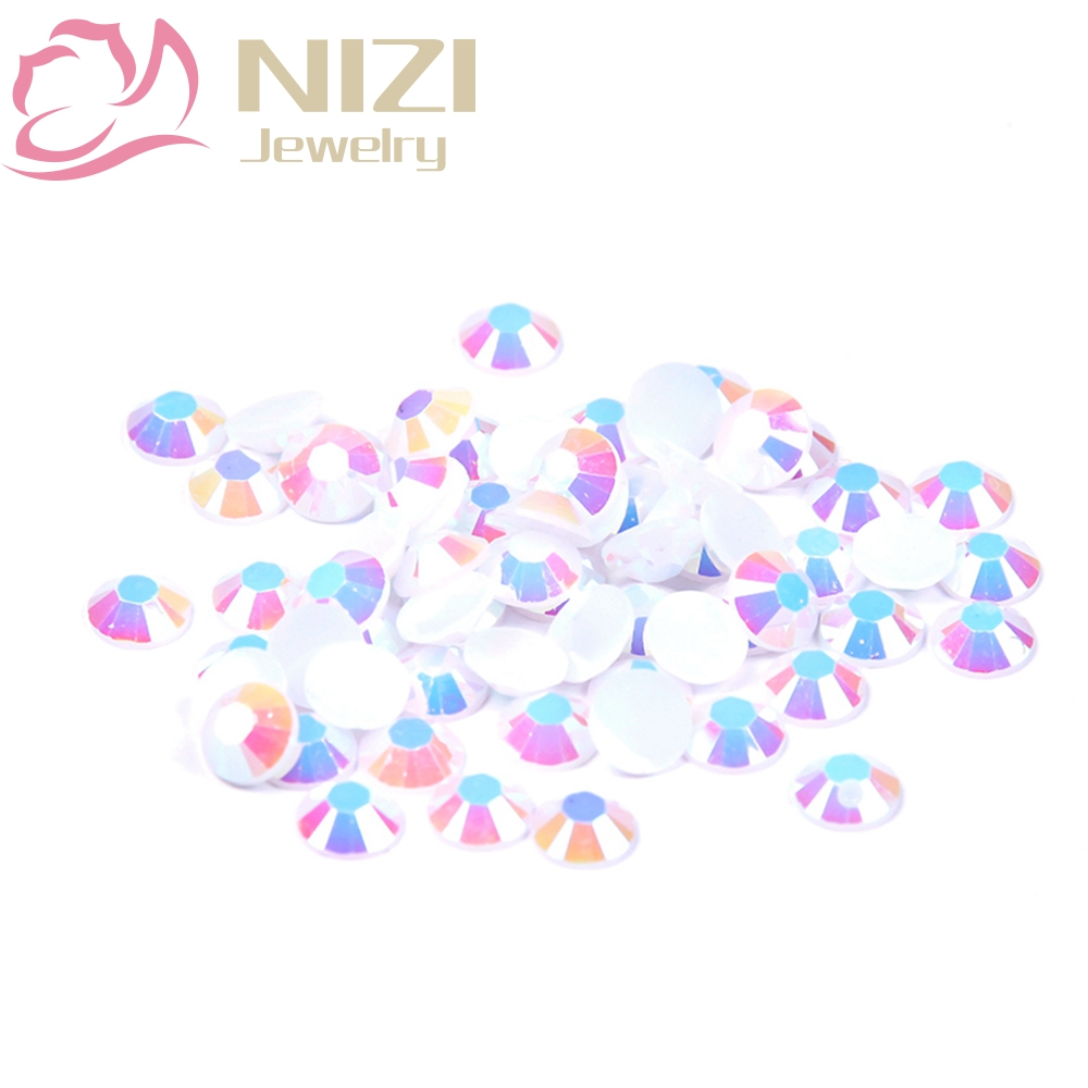 2016 New Arrive Resin DIY Rhinestones For Nail Art 2-6mm White AB Color Nail Design Glitter Decorations Flatback Non Hotfix купить