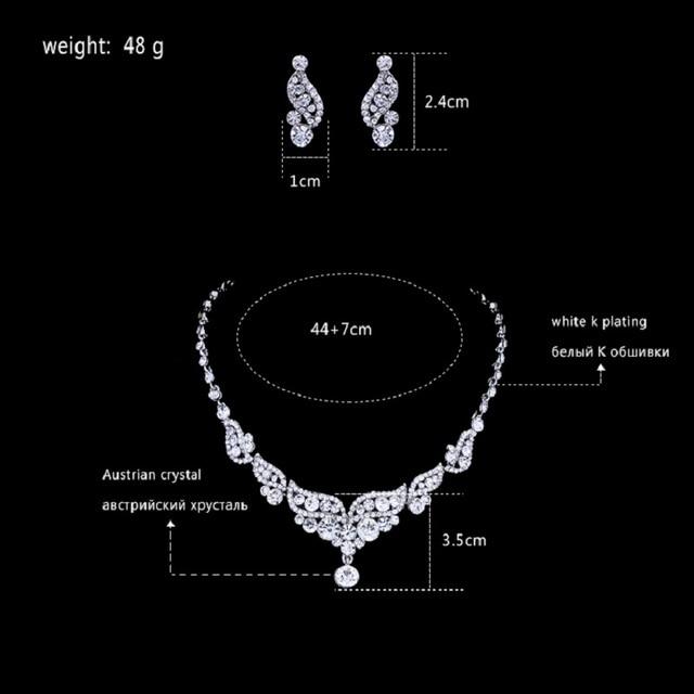 Luxurious Angel Wings Crystal Bridal Wedding Jewellery Set Silver Necklace & Earrings