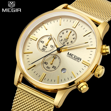 MEGIR Chronograph Mens Quartz Watch Stainless Steel Mesh Band Gold Watches Slim Men Watches Multi function
