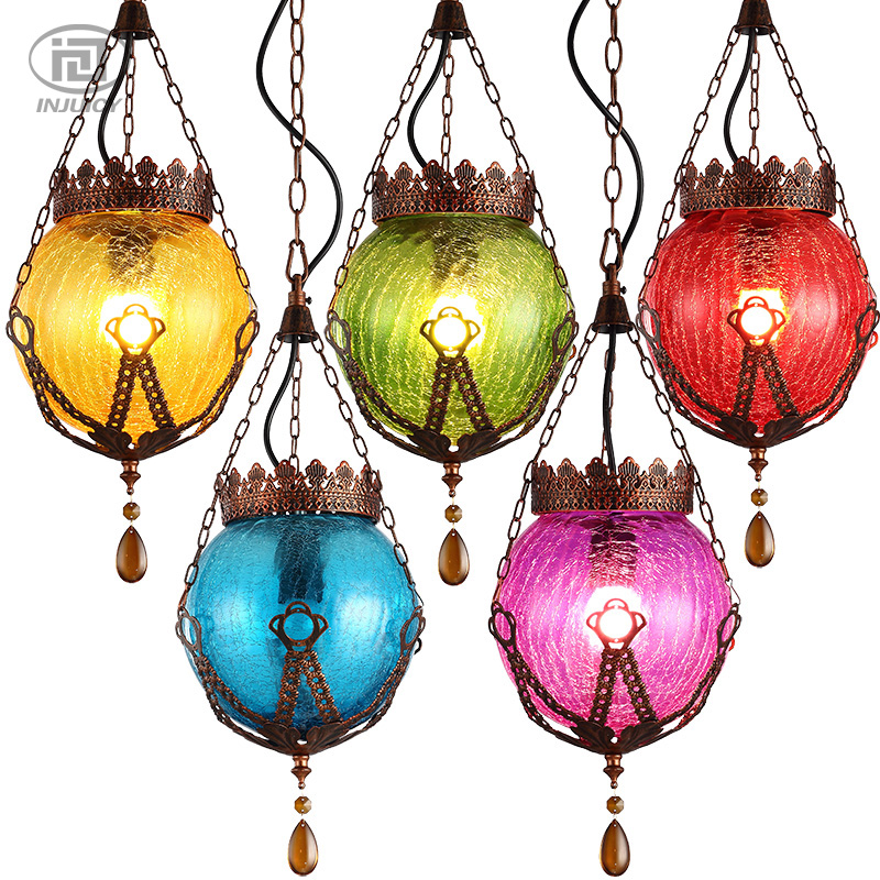 Southeast Asian Thai Style Colorful Glass Crystal Pendant Lamp Mediterranean Bohemia Restaurant Diffuse Coffee Bar Droplight