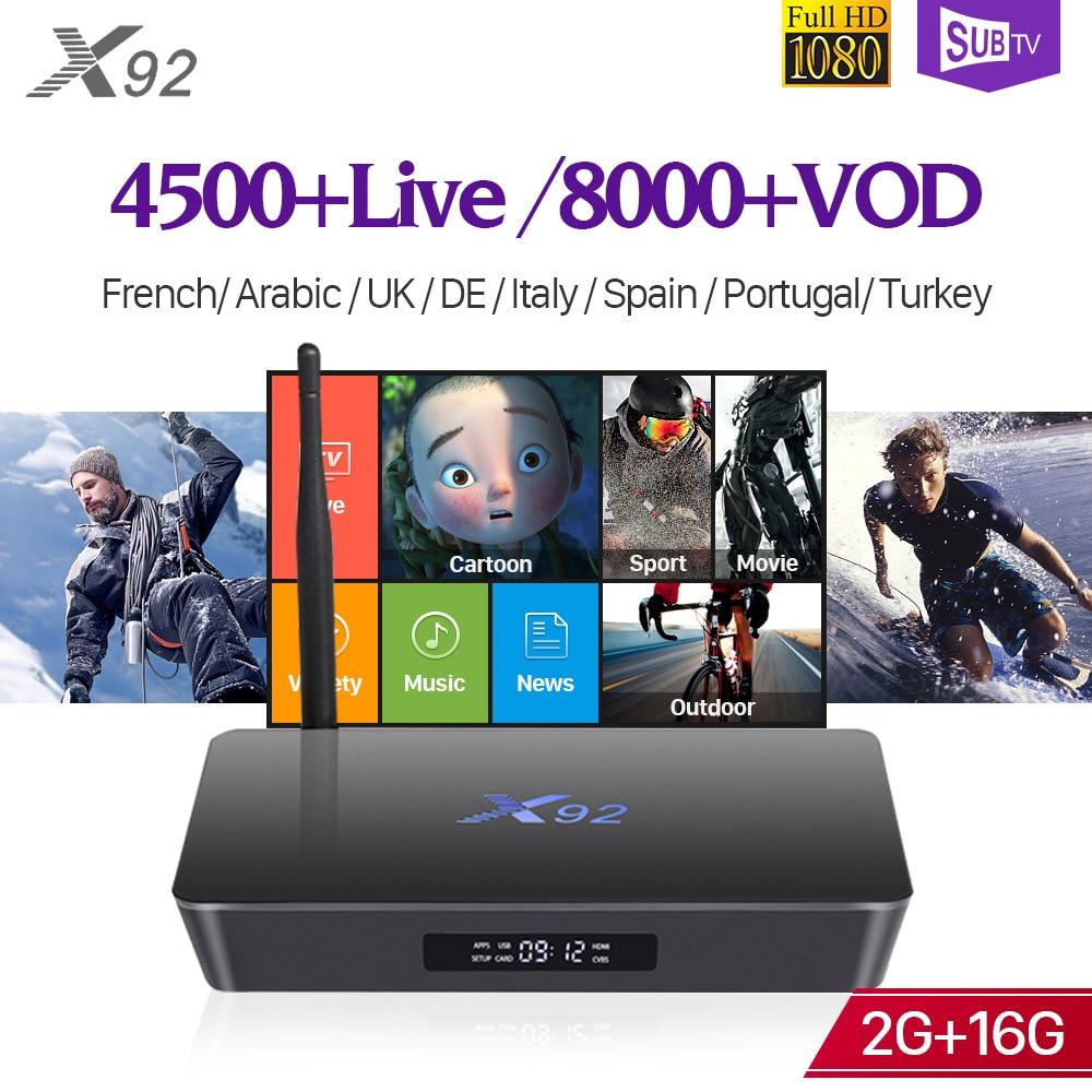 Здесь можно купить  Arabic France SUBTV Turkey Portugal IPTV Android IPTV Box X92 2G 16G Support BT Dual-Band WiFi 4K UK 1 Year SUBTV Subscription    Бытовая электроника