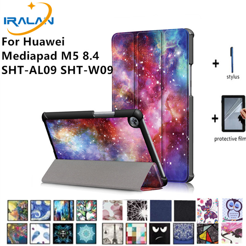 HOT Magnetic Smart Printed Stand PU Leather Case For Huawei Mediapad M5 8.4 SHT-AL09 SHT-W09 Tablet Protective Cover+film+stylus universal tablet case 7 inch pu leather protector stand cover for huawei mediapad x2 ideos s7 slim free stylus center film