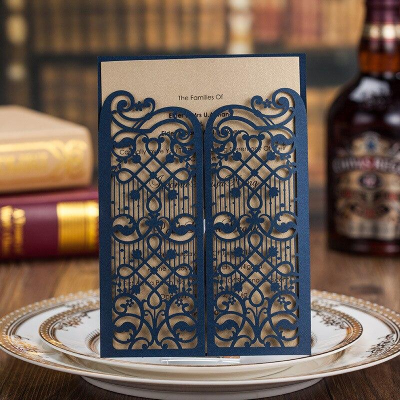 Tarjetas de invitación de boda con corte láser azul de 50 piezas con agujeros elegantes para fiesta nupcial cumpleaños compromiso CW5102-in Tarjetas e invitaciones from Hogar y Mascotas    1