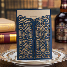 100pcs/lot Laser Cut Wedding Invitations Dark Blue Invitation Cards for Birthday Card Party Supply Free Printing CW5102