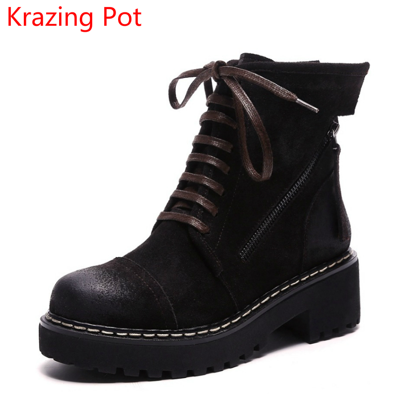 New Arrival Cow Suede Cowboy Motorcycle Boots Handsome Lace Up Wedges Zipper Med Heels Round Toe Classics Women Ankle Boots L68 new arrival women genuine leather flat ankle boots fashion round toe lace up ankle boots for women ladies casual cow suede boots