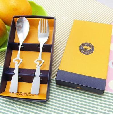Кухня столовая посуда столовые сервизы с принтом сердца и смайлика вилка и ложка из нержавеющей стали для свадебного подарка 10 комплектов в каждом из компл./лот - Цвет: B