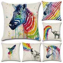 Lychee Rainbow Animal Print Pillow Cases Cute Flax Different Size For Bedroom Home Office