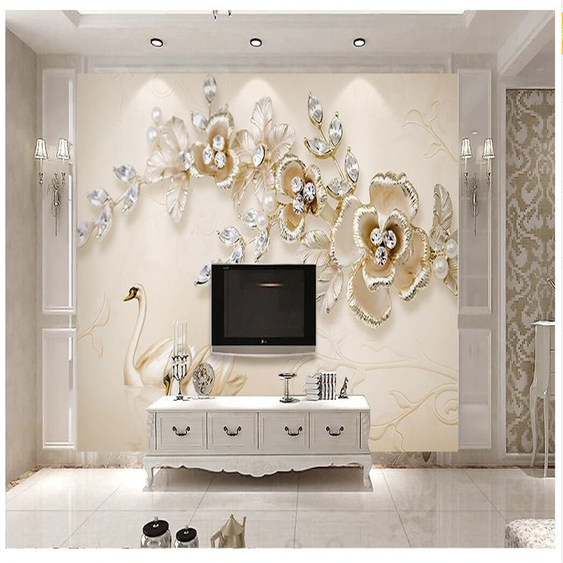 beibehang for Living Room Dream Crystal Swan Flower Pearl TV Background Europe Mural wallpaper for walls 3 d wall paper wallpaper for walls 3 d modern trdimensional geometry 4d tv background wall paper roll silver gray wallpapers for living room