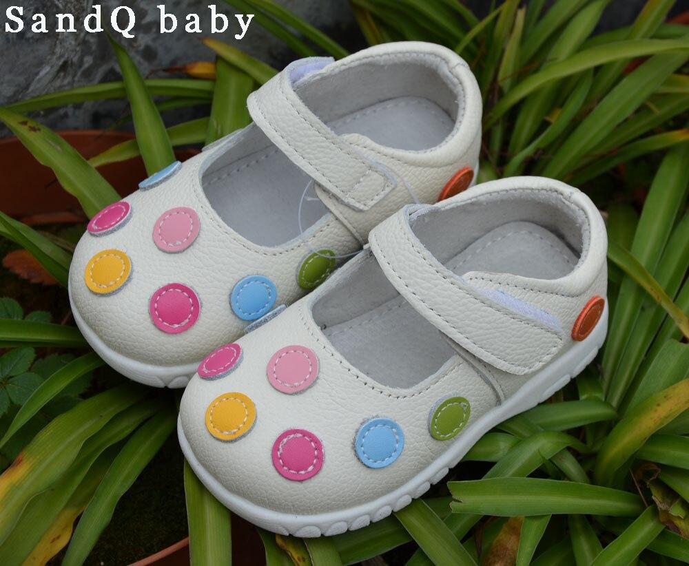 100% chaussures en cuir doux bébé enfants blanc mary jane avec multicolore pois classique pour les petites filles enfants mignon