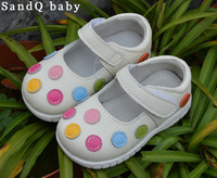 2012 100 Baby Soft Leather Shoes Kids White Mary Jane With Multicolored Polka Dots Wholesale Retail