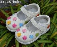 100% skórzane buty miękkie dziecko dzieci białe mary jane z wielokolorowe kropki klasyczne dla małych dziewczynek dzieci słodkie