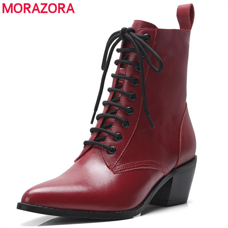 MORAZORA 2018 New genuine leather boots fashion lace up pointer toe ankle boots thick heel autumn winter motorcycle boots womenMORAZORA 2018 New genuine leather boots fashion lace up pointer toe ankle boots thick heel autumn winter motorcycle boots women