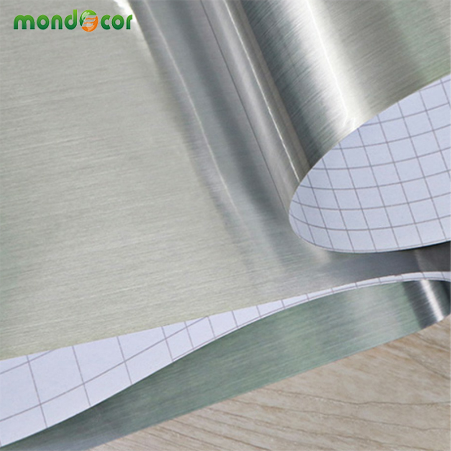 DIY Metal Decorative Wallpaper Peel And Stick Film Brushed Silver Stainless Steel PVC Vinyl Waterproof House Appliance Stickers