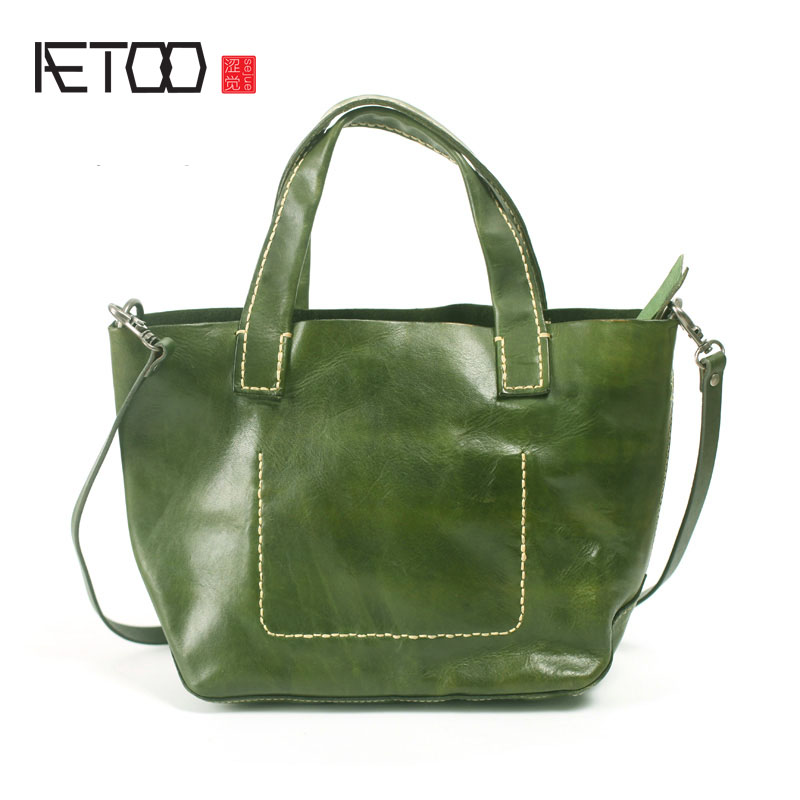 AETOO Soft leather simple handmade leather shoulder bag leather diagonal package art retro green handbag handbag aetoo oil wax leather leather europe and america retro men s 8 inch summer travel simple shoulder diagonal package