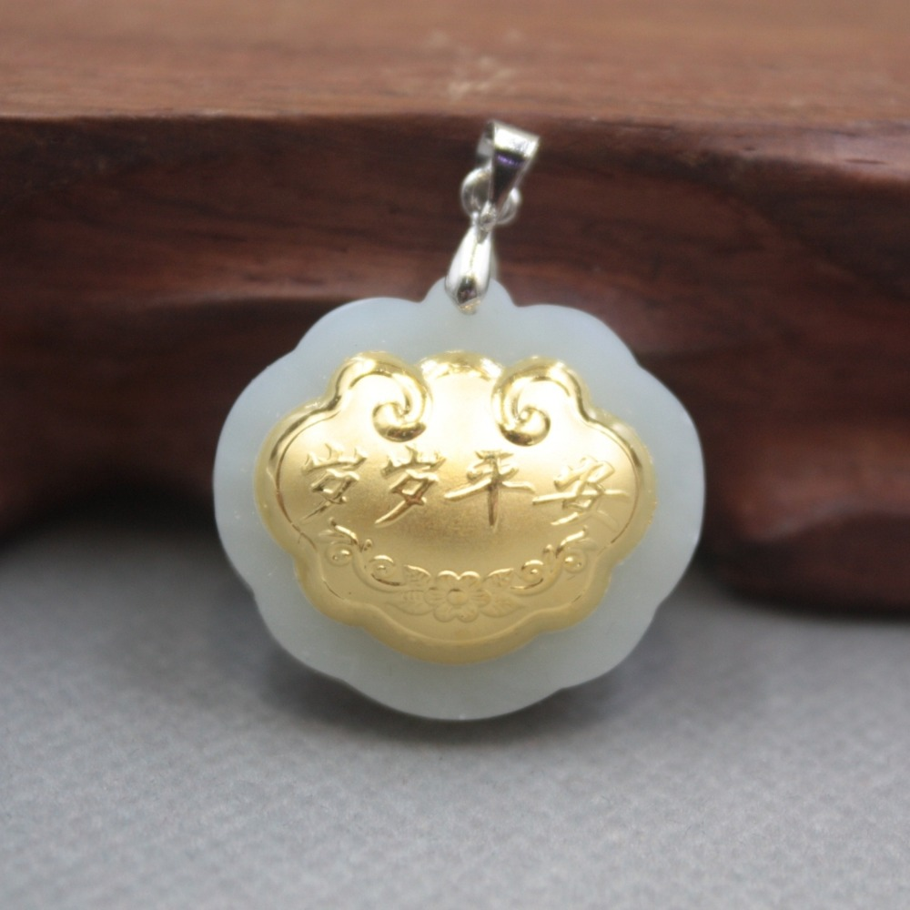 New Fine 24K Yellow Gold & Hetian Jade Pendant Women Men Lock Pendant 26x24mm