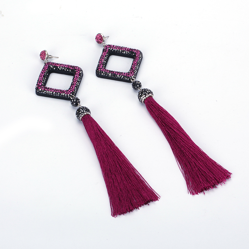 Boho Hollow Square Pave Rhinestone Pendant Connector Charm Maroon Purple Silk  Fabric Extra Long Tassel Dangle Earring for Women-in Drop Earrings from ... 12283af2a7c6