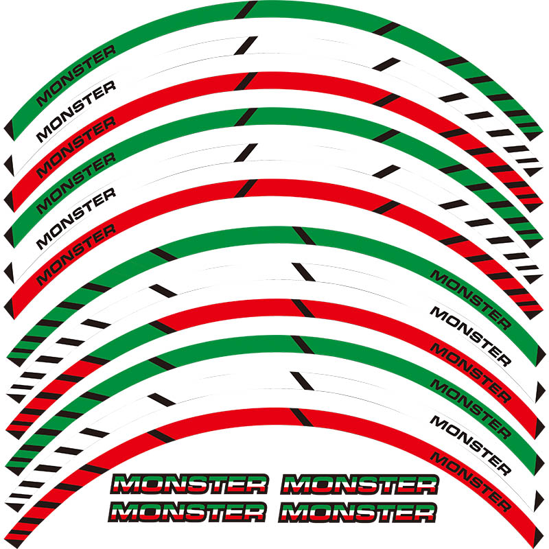 For All DUCATI MONSTER 695 696 796 1100 1100S 797 821 795 12 X Thick Edge Outer Rim Sticker Stripe Wheel Decals