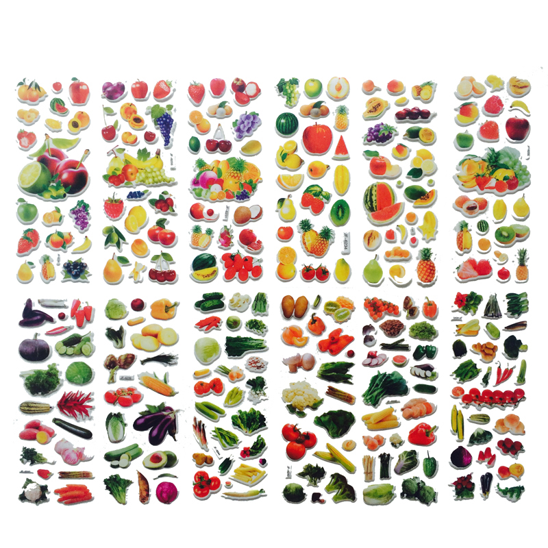 10sheets/set  Bubble Stickers 3D Cartoon Vegetables And Fruits Classic Toys Scrapbook For Kids Children Gift