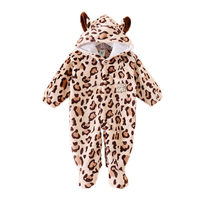 Once Piece Newborn Baby Rompers 2016 Winter Overalls Coveralls Cows Jumpsuit Hat Warm Animals Kids Foot