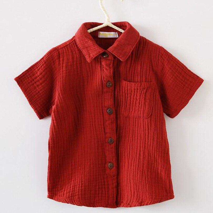 Wholesale OEM 20pcs Children Clothes Cotton Linen Shirts Summer Short sleeve Turn Down Collar Baby Boys