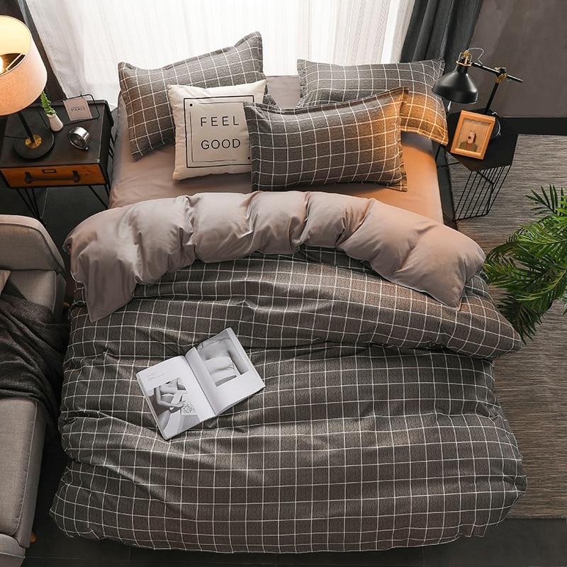 Classic Bedding Set 5 Size Grey Blue Grid Summer Bed Linen 4pcs/set Duvet Cover Set Pastoral Bed Sheet AB Side Duvet Cover 2020