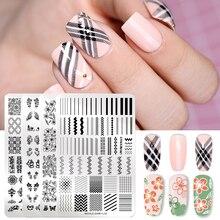 Nicole Dagboek Nail Art Stempelen Platen Roestvrij Staal Bloem Geometrische Nail Image Stmap Template Stencil Tool