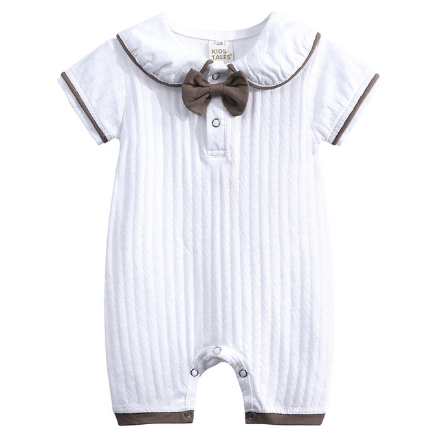 981489b105d36 US $5.5 23% OFF|New trendy Cute Baby Bodysuits Newborn Toddler Infant Baby  Boys Girls Striped Casual Jumpsuit Outfits Summer Clothing baptism-in ...