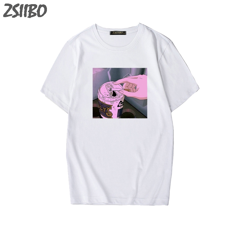 NEW Harajuku Female t shirt NEW Arrival Sad Anime Vaporwave Print Women 39 s t shirt Aesthetic Otaku Casual Short Sleeve Tops S 2XL in T Shirts from Women 39 s Clothing