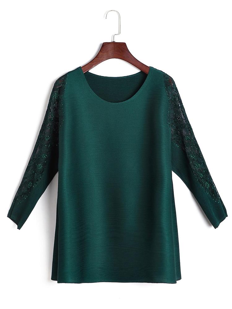Gratuite T Mince navy À D'été Livraison gris shirt Taille vert Miyake Femmes Blue T Noir Manches Plier Diamant De shirts Plissé Longues rouge Grande 4wnTSxq