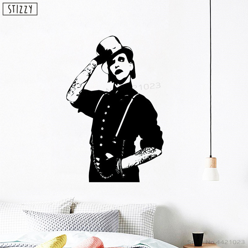 STIZZY Wall Decal Marilyn Manson Rock Music Star Poster Wall Stickers For Boy Bedroom Interior Creative Art Mural Decor DIY B741