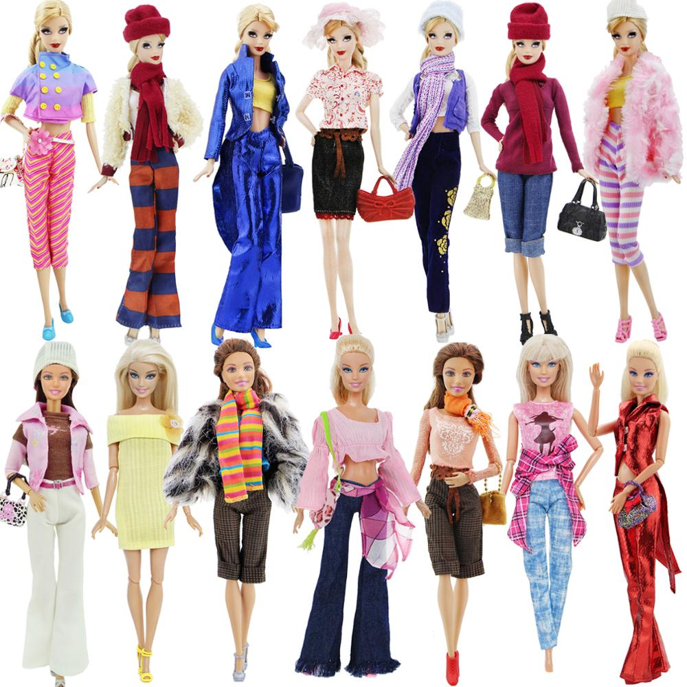 Fashion Outfit Daily Casual Wear Mixed Style Coat Trousers Shoes Handbag Accessories Clothes For Barbie Doll DIY Toy