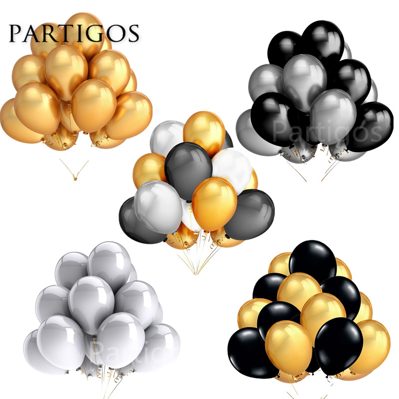 30pcs/lot 2.2g 10inch Pearl Gold Silver Black Latex Balloons Birthday Wedding Party Decor Air Helium Globos Kids Gifts Supplies