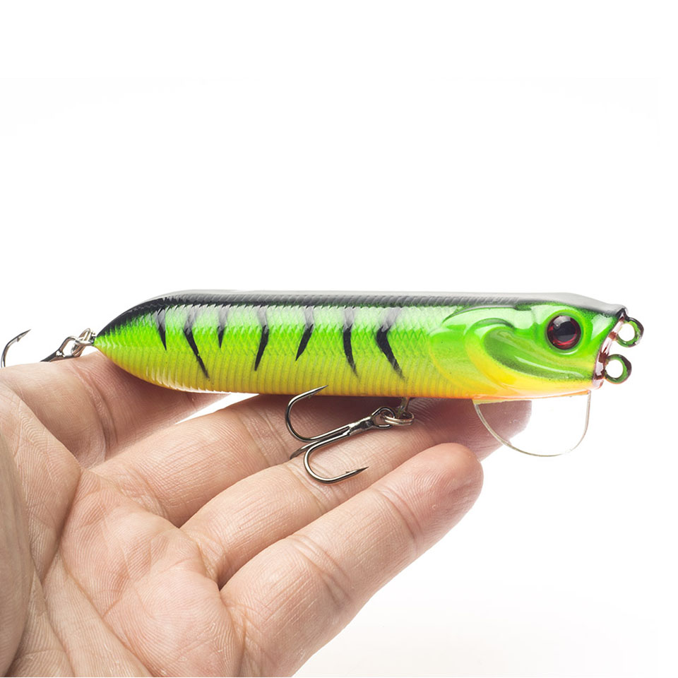 Topwater fishing pencil lure 10cm artificial hard for Topwater fishing lure